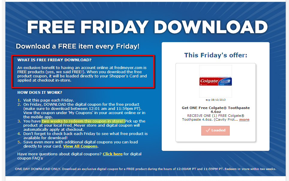 Free Friday Deals at Fred Meyer Free friday, Fred meyer