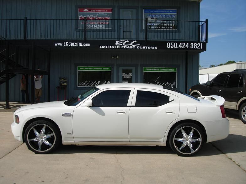 White Dodge Charger With 22 Helo Wheels Falken Tires New