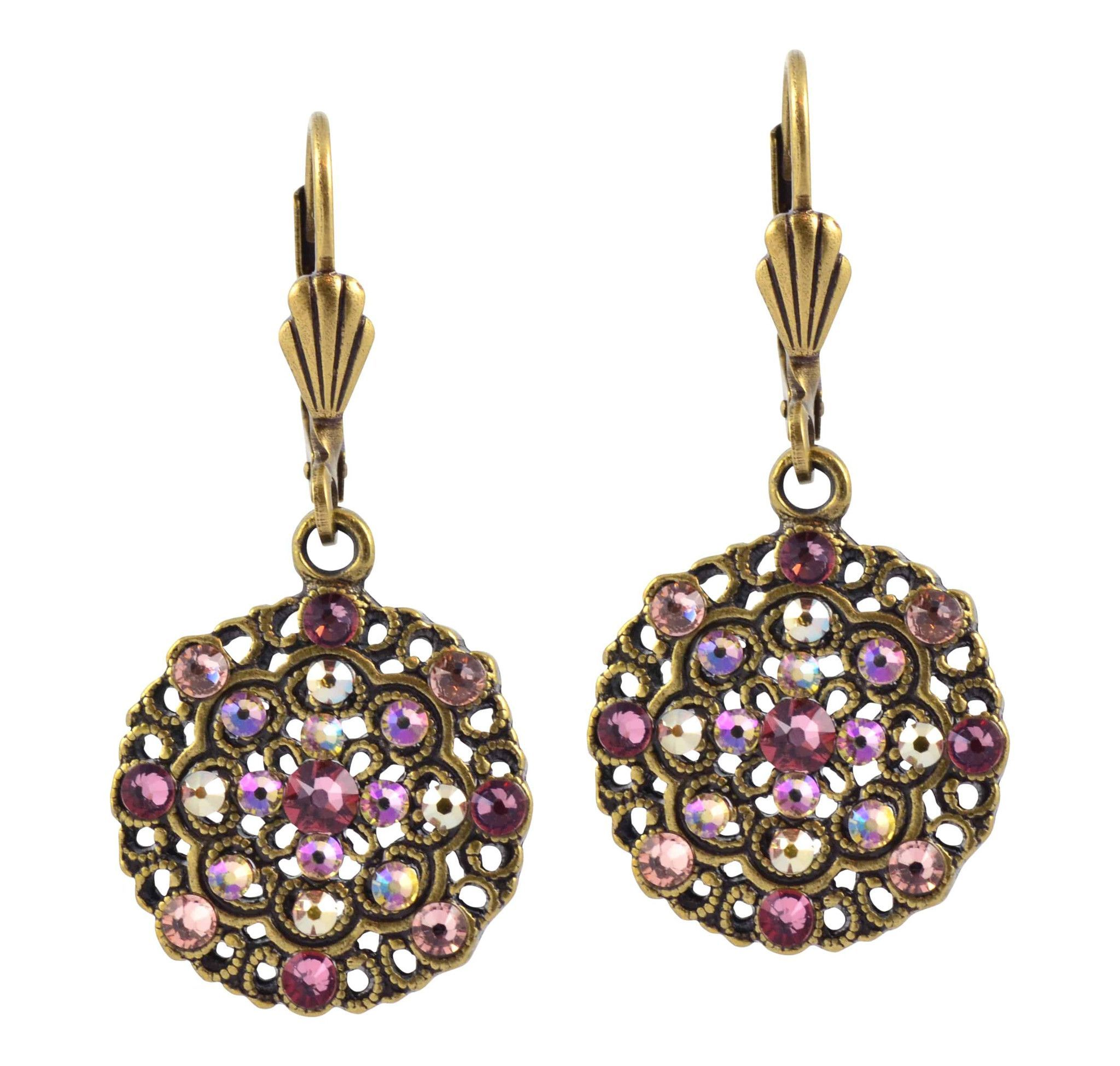 Anne Koplik Round Earrings, Antique Gold Plated with Pink and Green Swarovski Crystal ER4641BLR