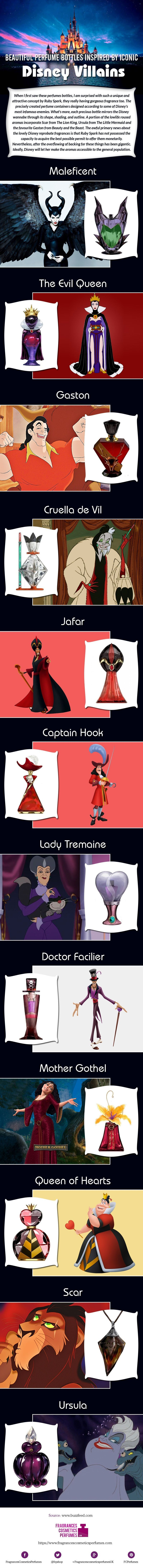 Beautiful Perfume Bottles Inspired by Iconic Disney Villains #Infographic