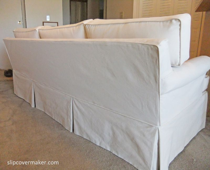 Custom Slipcover With Tailored Skirt And Box Cushions For