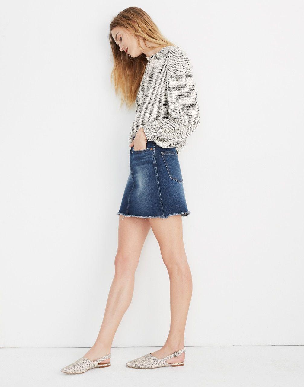 Mini skirts size 33 Stretch Denim High Waist Straight Mini Skirt In Hayson Wash Womens Denim Skirts Mini Skirts High Waisted Denim