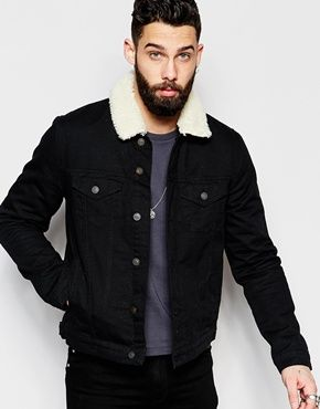 d5f04c8e17aa ASOS Denim Jacket With Borg Collar In Black Wash