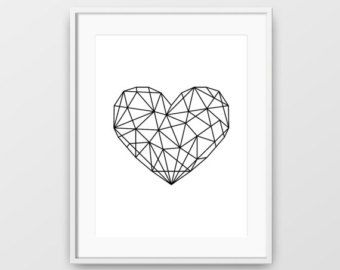 printable art love heart print love heart art polygon love heart print polygon art geometric love heart geometric print minimalist art
