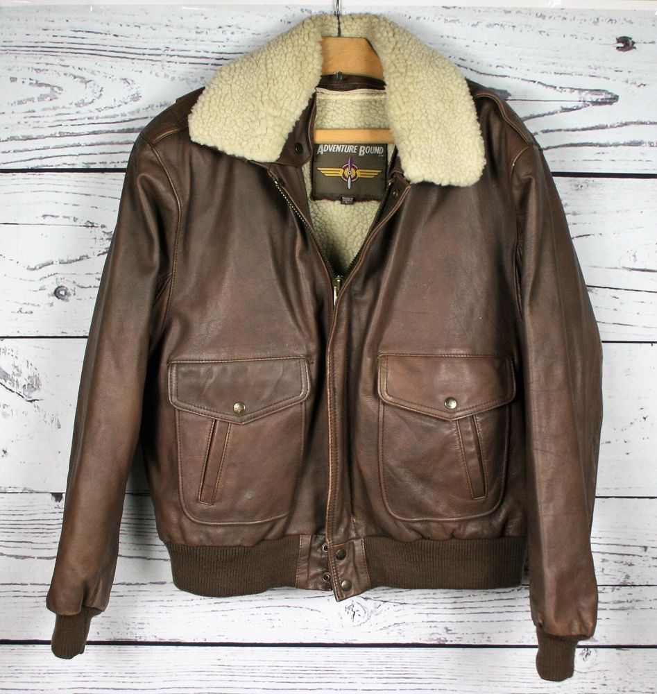 a12325e04 Vintage ADVENTURE BOUND Brown Leather Sherpa Lined Bomber Motorcycle ...