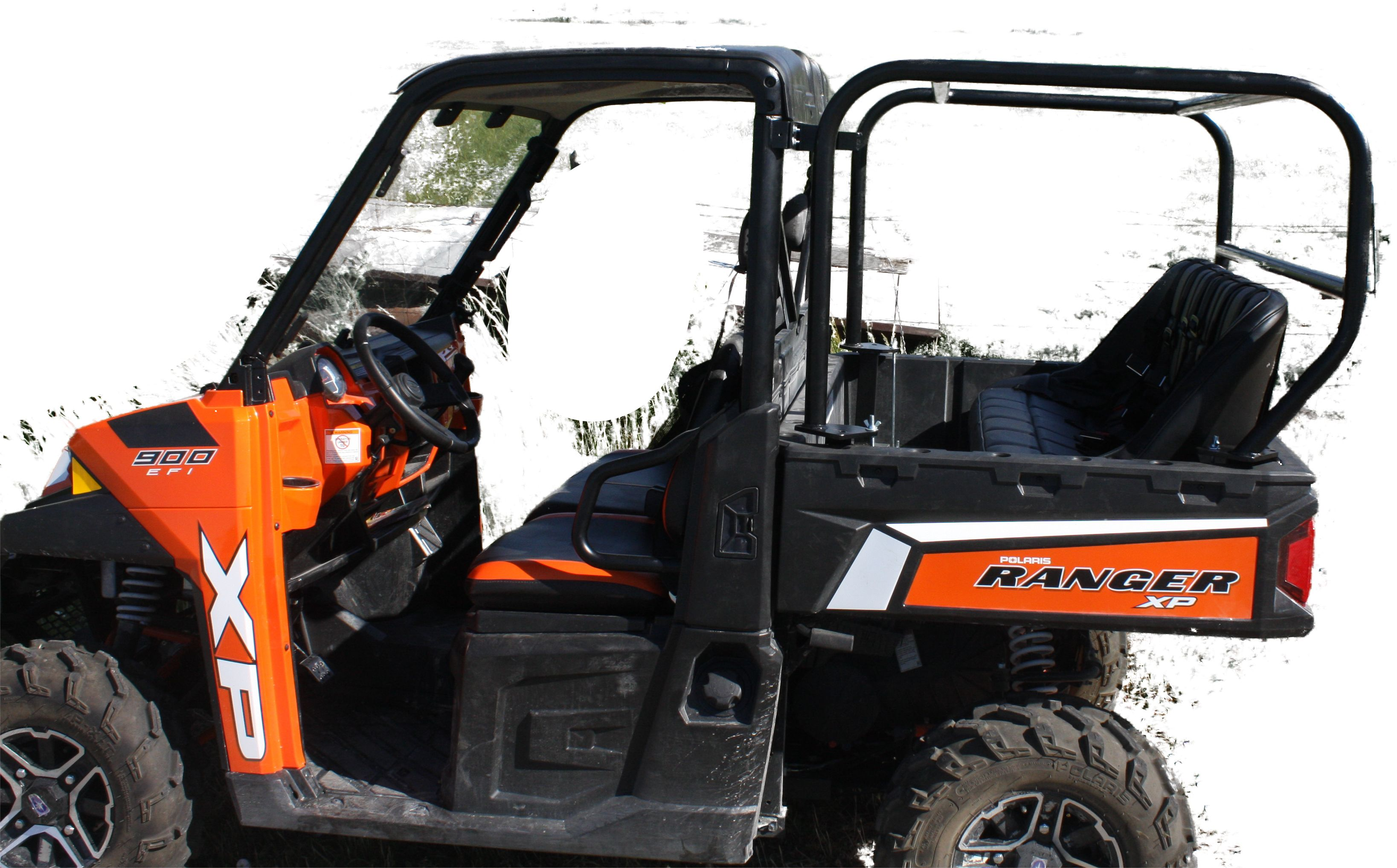 hight resolution of siorfi utv polaris ranger 900xp back seat and roll cage kit this system was designed to come in and out in minutes no drilling or welding to the bed