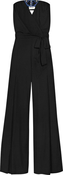 ALICE BY TEMPERLEY  Black Bead Embellished Crepe Jumpsuit