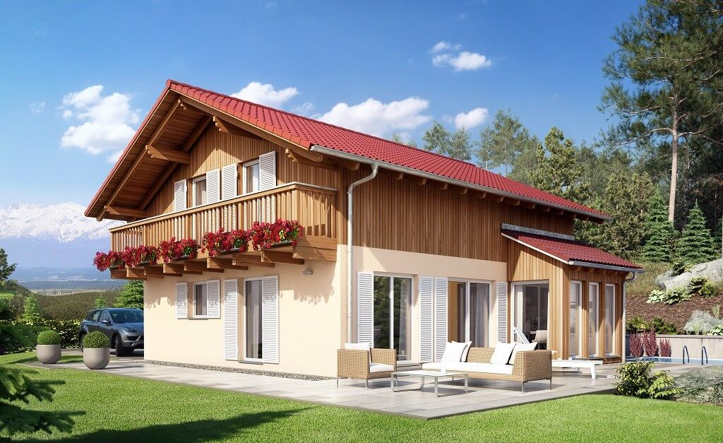 Landhaus moderner alpenstil haus celebration 150 v10 for Cottage haus bauen