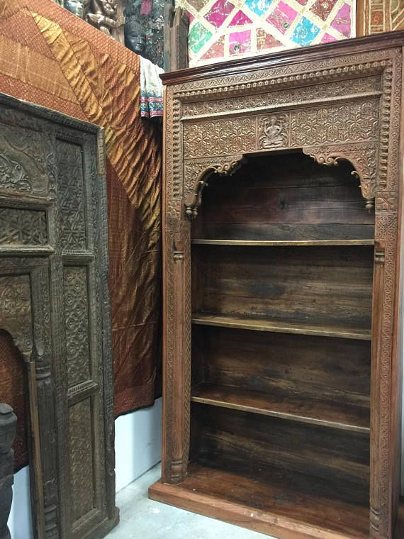 Antique Arched hUGE Bookcase OLD WORLD India ARCH Ganesha