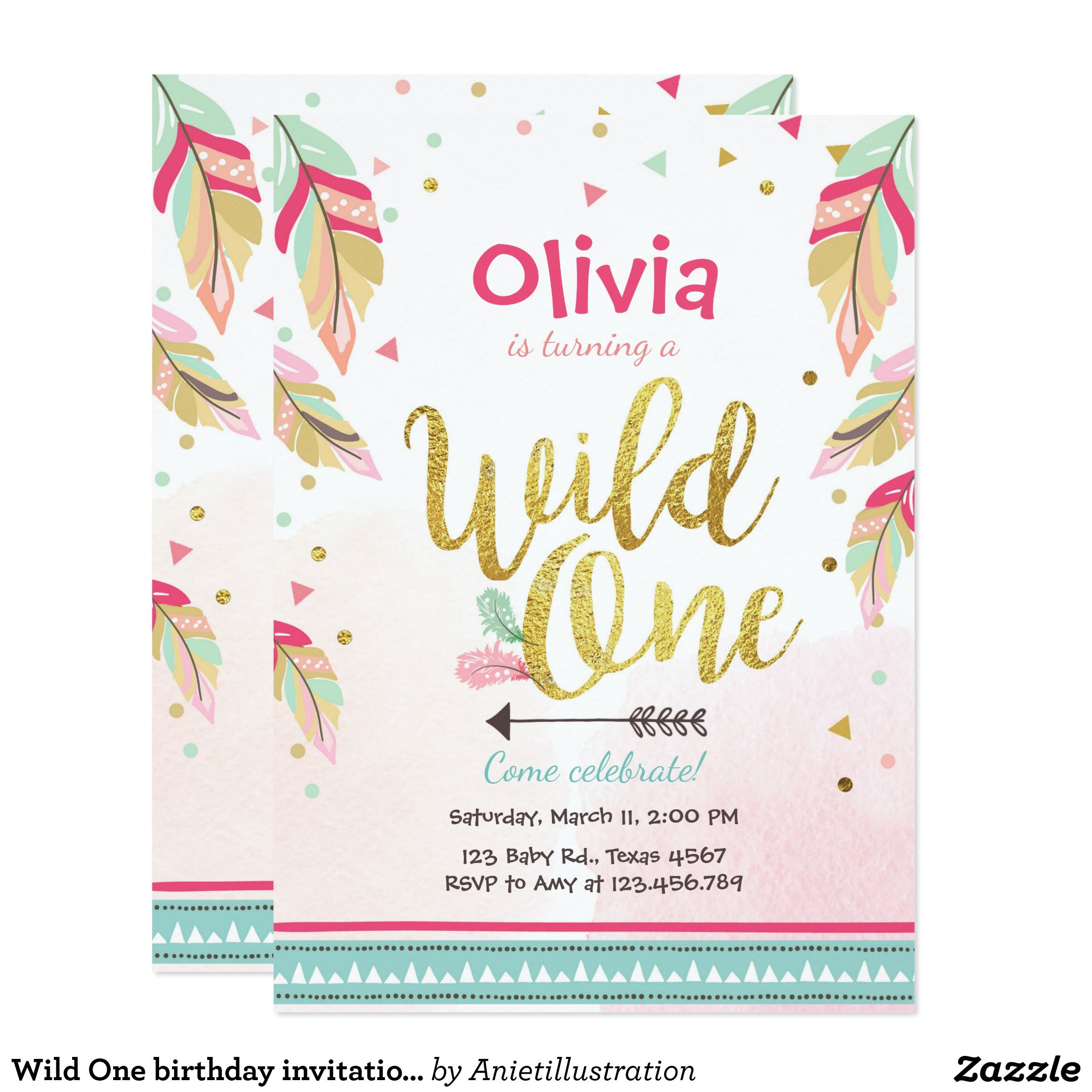 Wild One birthday invitation First birthday Girl | Birthdays and ...