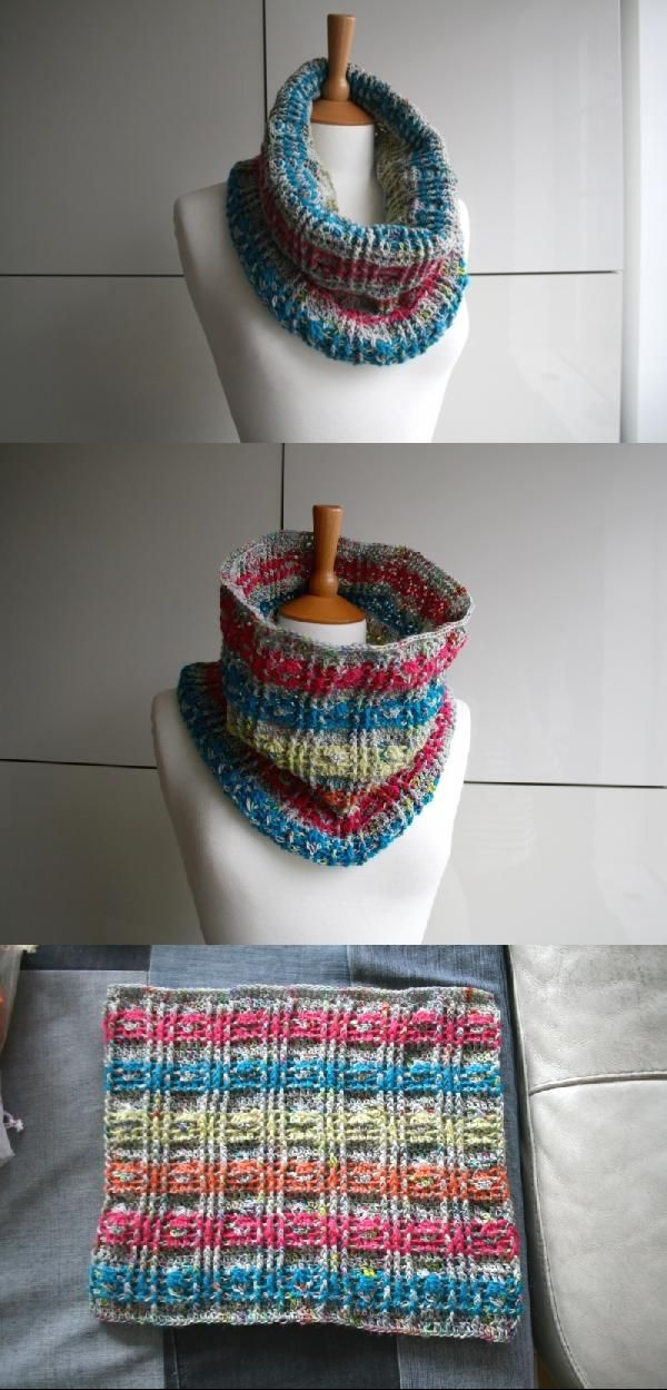 Plaid Snood Scarf Crochet Pattern By Luz Patterns Scarf Crochet