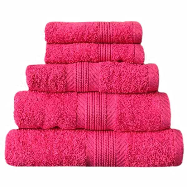 Catherine Lansfield Home Cotton 4 Piece Guest Towel Set Hot Pink
