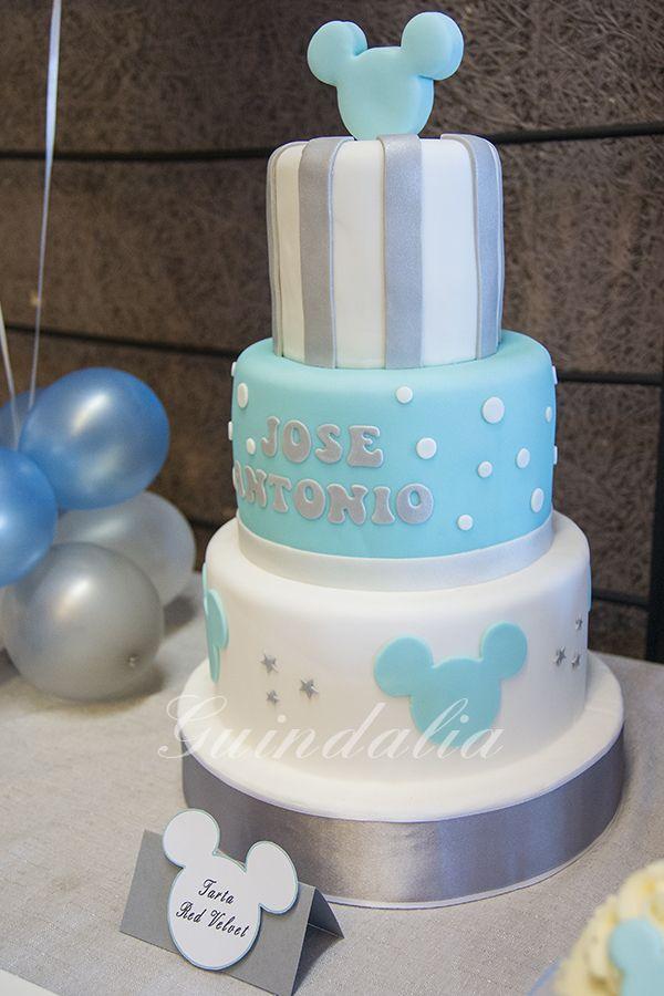 Tarta Bautizo Con Detalles Mickey Baby Shower Cake Topper Birthday Cake Girls Baby Shower Party Food