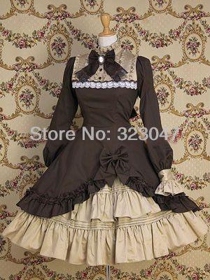 Women Coffee Cotton Classic Lolita Dress Frill Frock Dress Anime Cosplay Costume