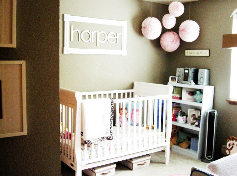 Modern Baby Room Ideas for Girls for Mom To Be: White Baby Box Pink Ball Lantern Lamps White Shelves Brown Wall Modern Baby Room Ideas For Girls ~ dickoatts.com Bedroom Designs Inspiration
