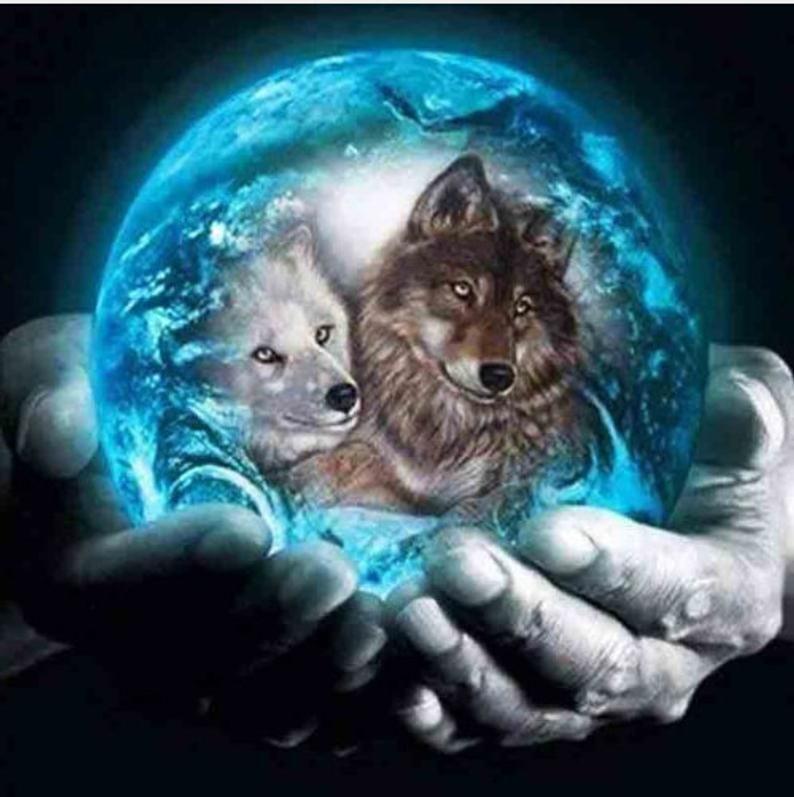 5d Animal Diamond Painting Blue Crystal Ball Wolf Full Drill Etsy Dibujos Bonitos De Animales Fotos De Lobo Amantes De Perros
