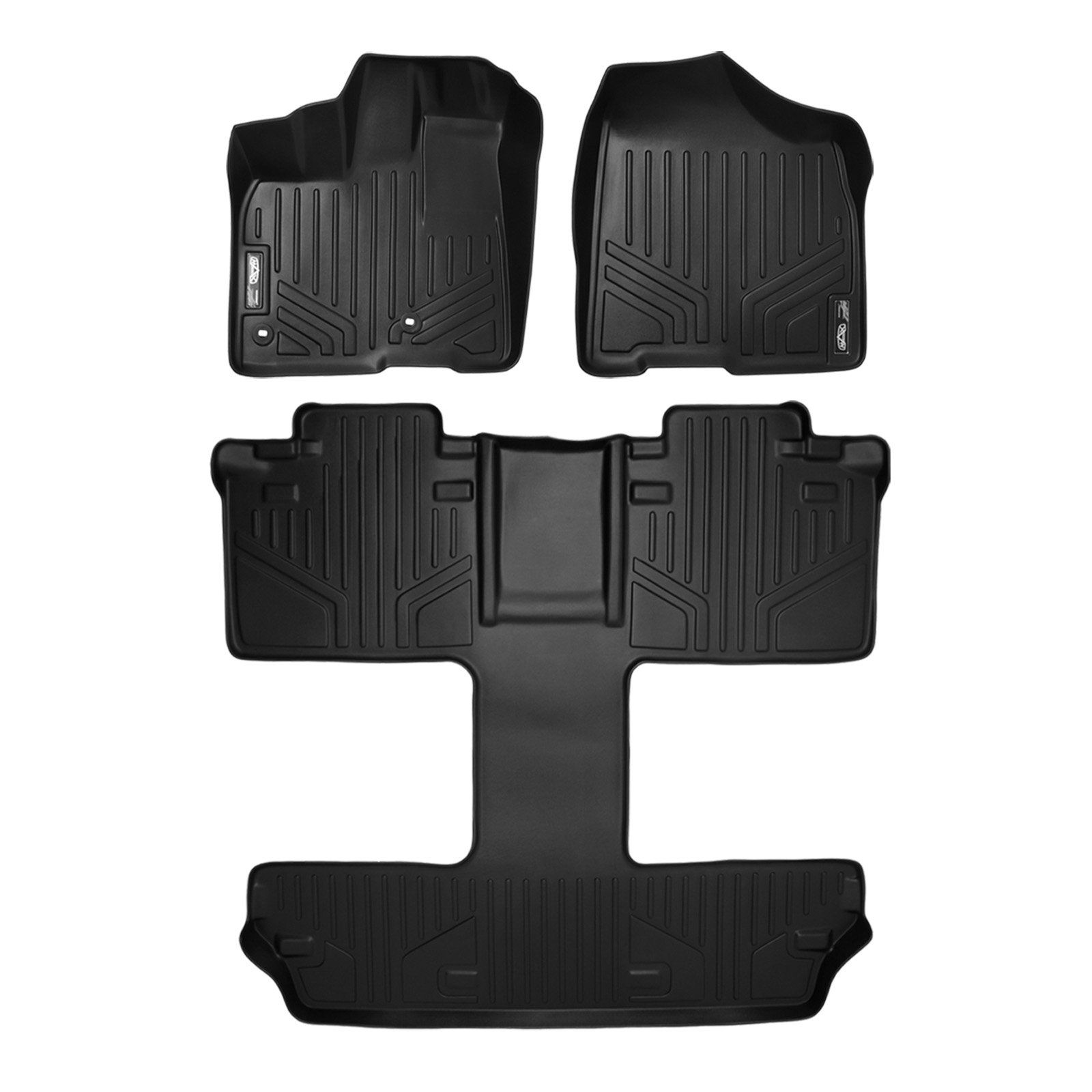 SMARTLINER Custom Fit Floor Mats 3 Row Liner Set Black for