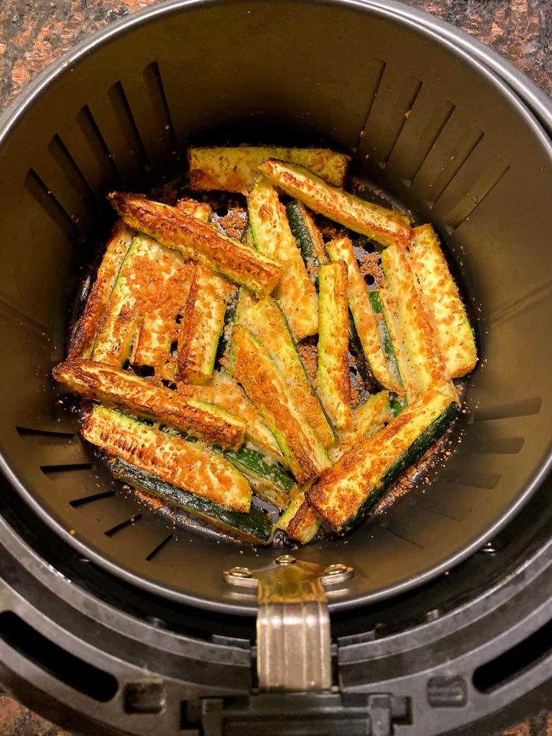Air Fryer Keto Zucchini Fries With Parmesan Cheese (No