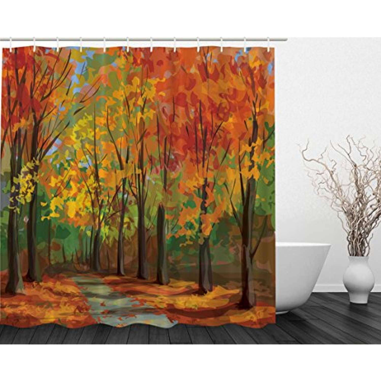 Woodsy Shower Curtain Forest North Woods Falling Leaves Fall Park