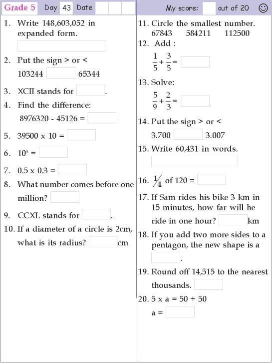 Mental Math Grade 5 Day 43 Mental Maths Worksheets, Grade 5 Math  Worksheets, Mental Math
