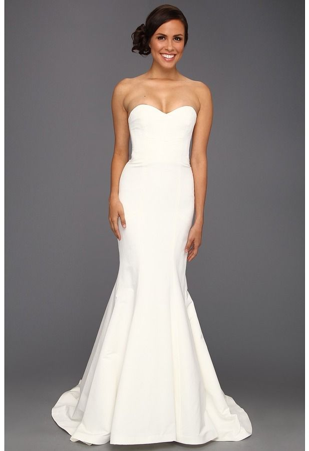 Nicole miller dakota silk faille strapless gown white for Nicole miller dresses wedding
