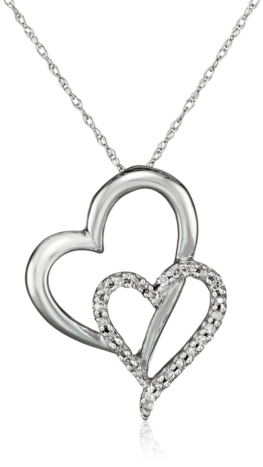 K white gold diamond double heart pendant necklace cttw
