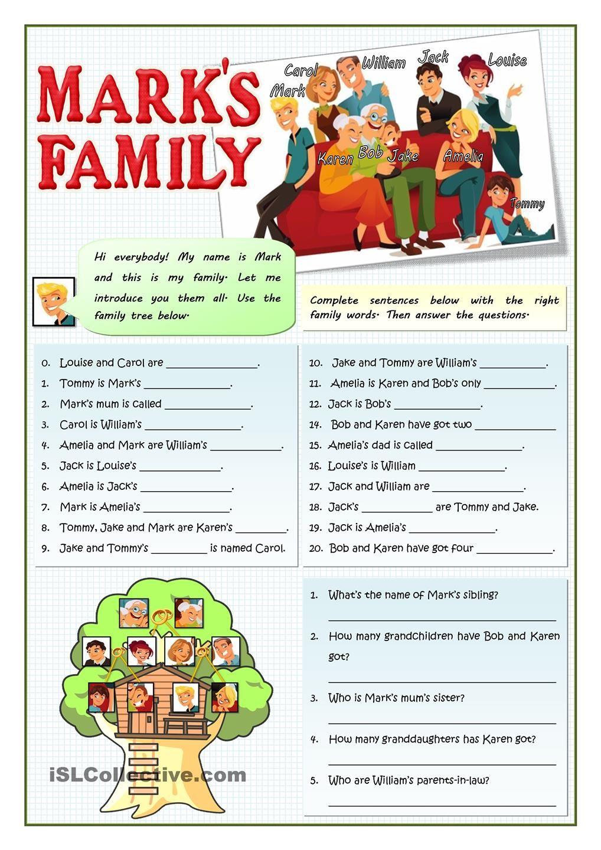 MARKS FAMILY Apprendre l'anglais, La famille en anglais
