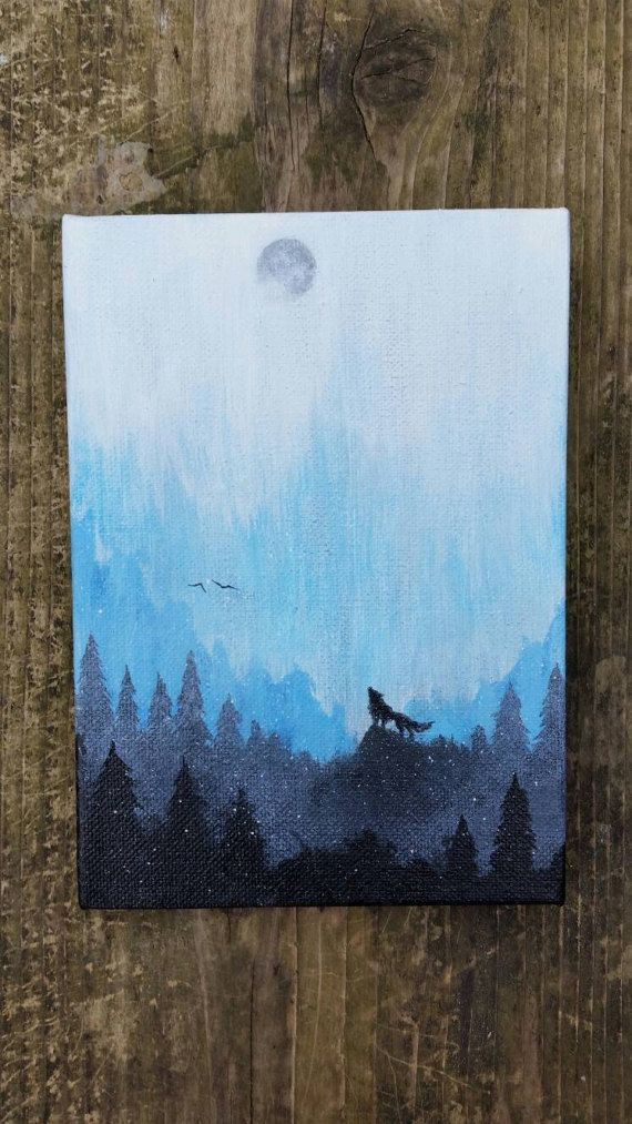 Wolf painting mountains painting galaxy canvas painting for Painting a forest in acrylics