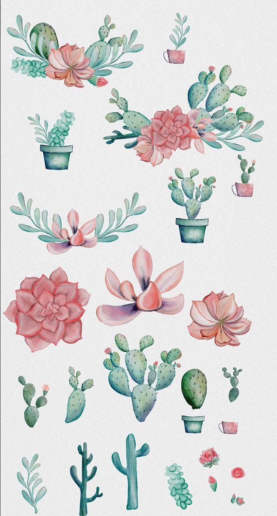 Photo of 26 WATERCOLOR CACTUS CLIPART download, commercial use, digital watercolor, succulent clipart, wreaths, bouquets, floral design elements