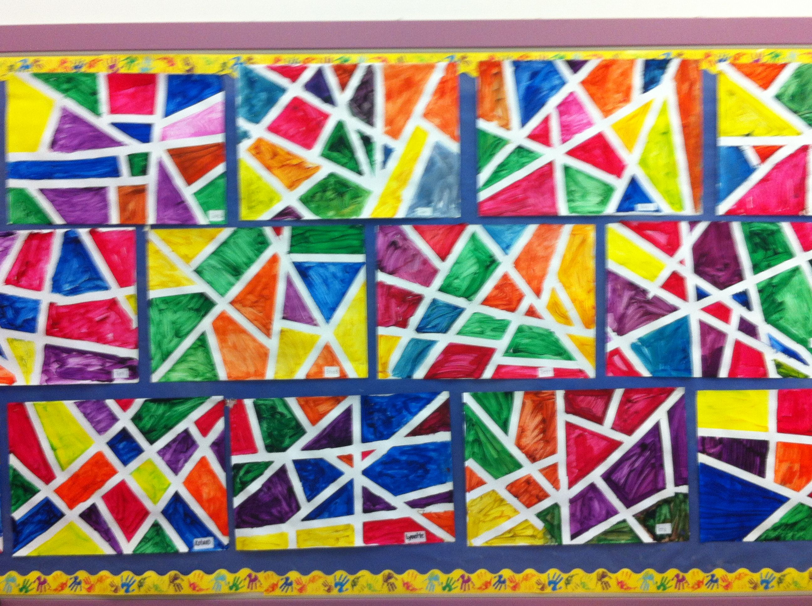 Shape Painting With Tape During Our Shapes And Solids Unit