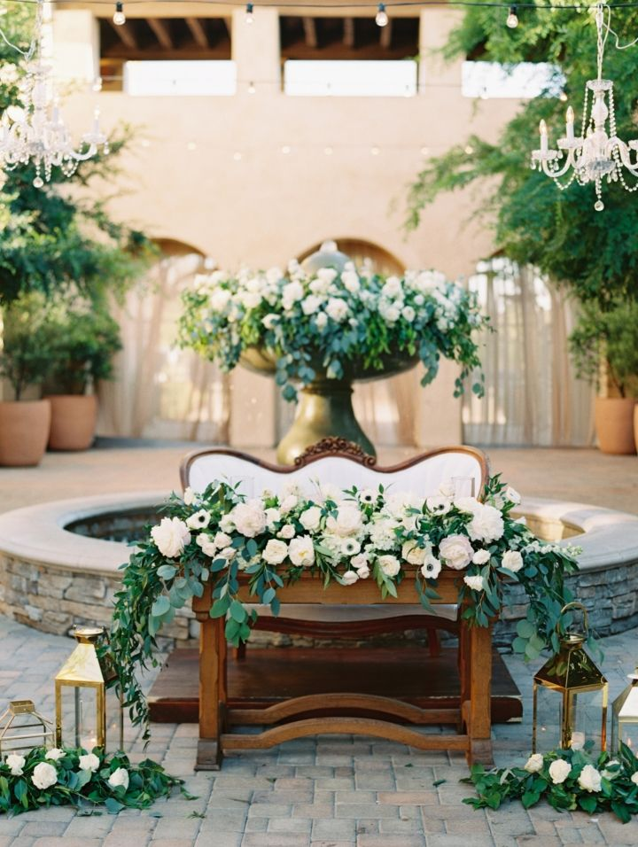 Beautiful greenery and floral wedding decor + candles #weddingdecor #greenwedding