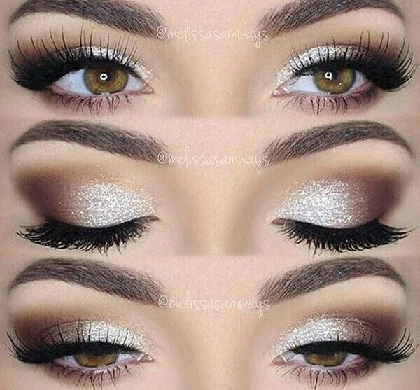 Glam Glittery Sparkly Neutral Eye Makeup Look White Silver Brown