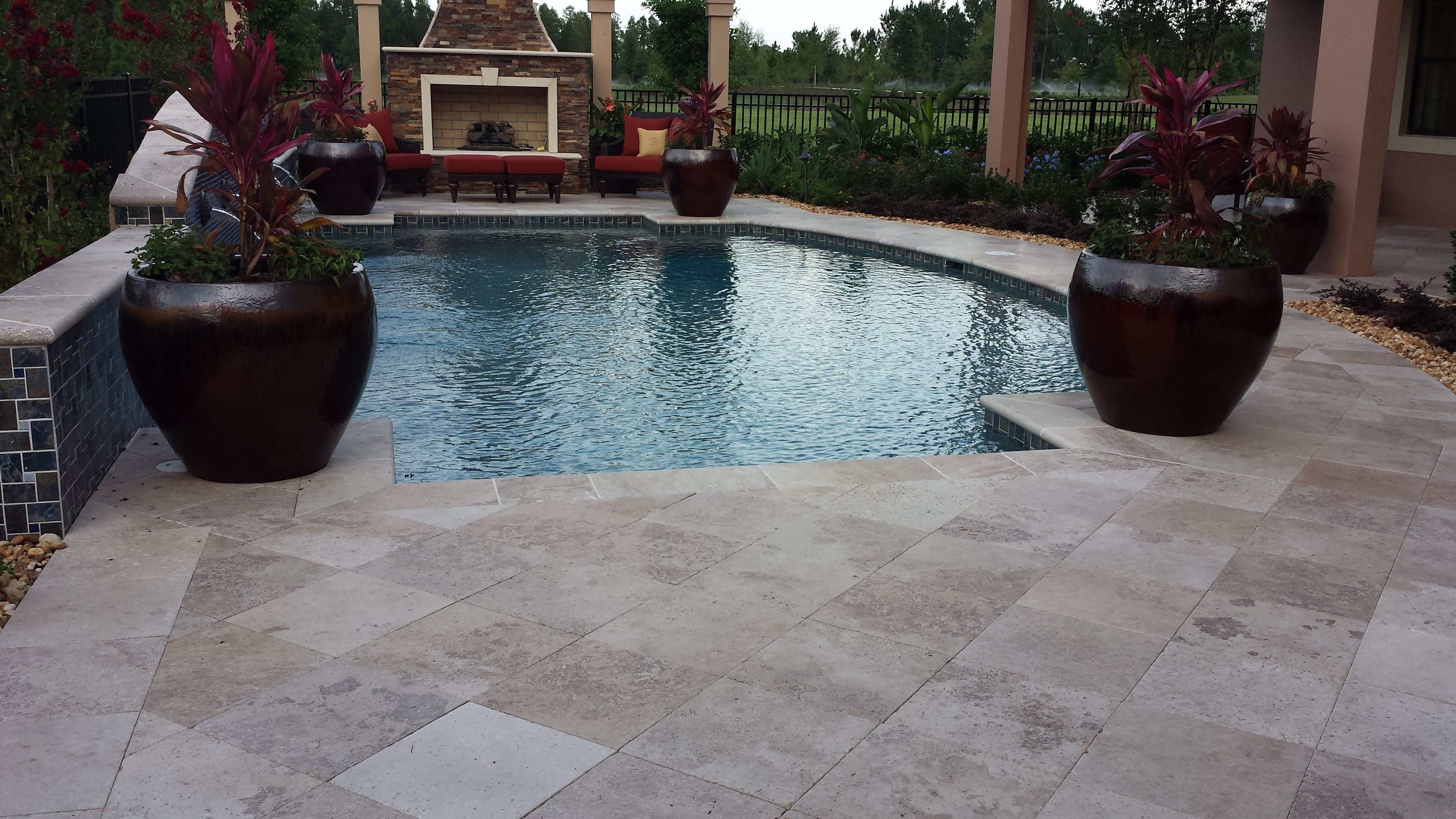 16x16 Noce Roman GM Tumbled Travertine Pool Deck Pavers And Pool Coping.  For More Info