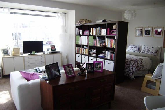 Studio Apartment idea - I like, but wonder if there's a way to get a bookshelf divider that could hold my TV and let it rotate to face bed or couch