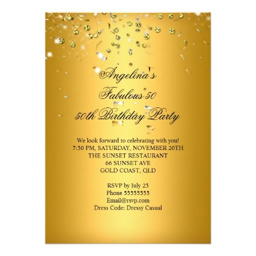 Fabulous 50 Gold Silver Streamers 50th Birthday Invitation