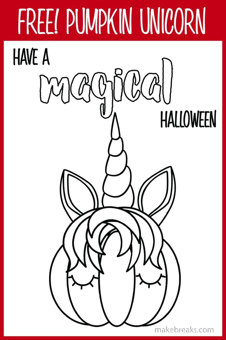 Free Pumpkin Unicorn Magical Coloring Page - Make Breaks #halloweencoloringpages