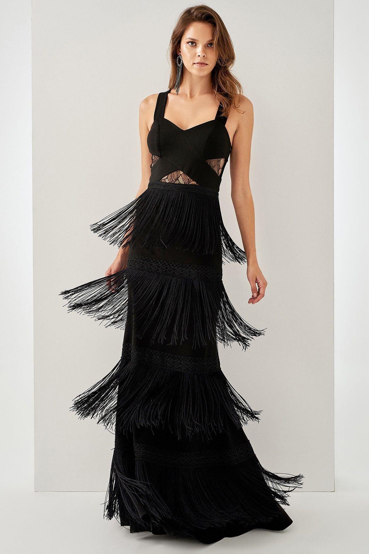 Trendyolmilla Siyah Puskullu Elbise Elbiseler Elbise Elbise Modelleri