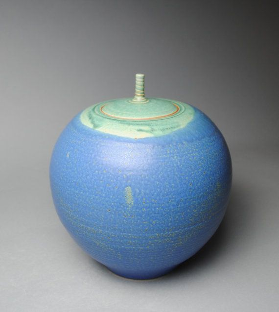 Clay Covered Jar  Blue Ash  Handmade A60 by JohnMcCoyPottery. www.JohnMcCoyPottery.etsy.com