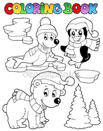 Animales para colorear libro invierno 2 — Vector de stock © clairev ...