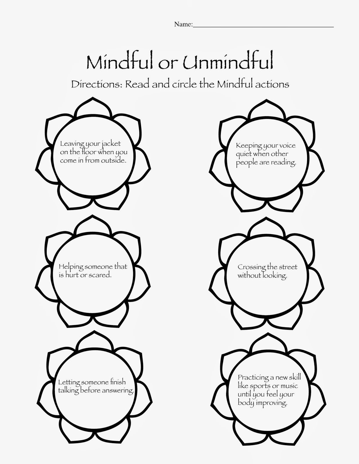 Free Mindfulness Worksheets Pictures
