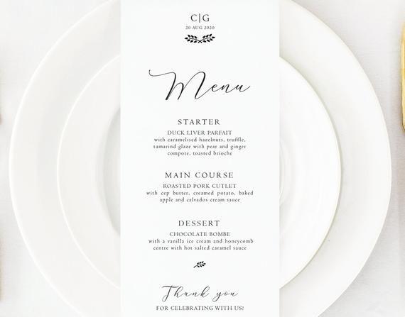 Personalised Elegant Stylish Wedding Menu Cards | Bespoke Minimalist Menu Cards | Place Setting | We