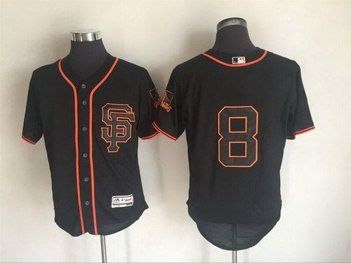 Men's San Francisco Giants #8 Hunter Pence Black SF 2016 Flexbase Majestic Baseball Jersey