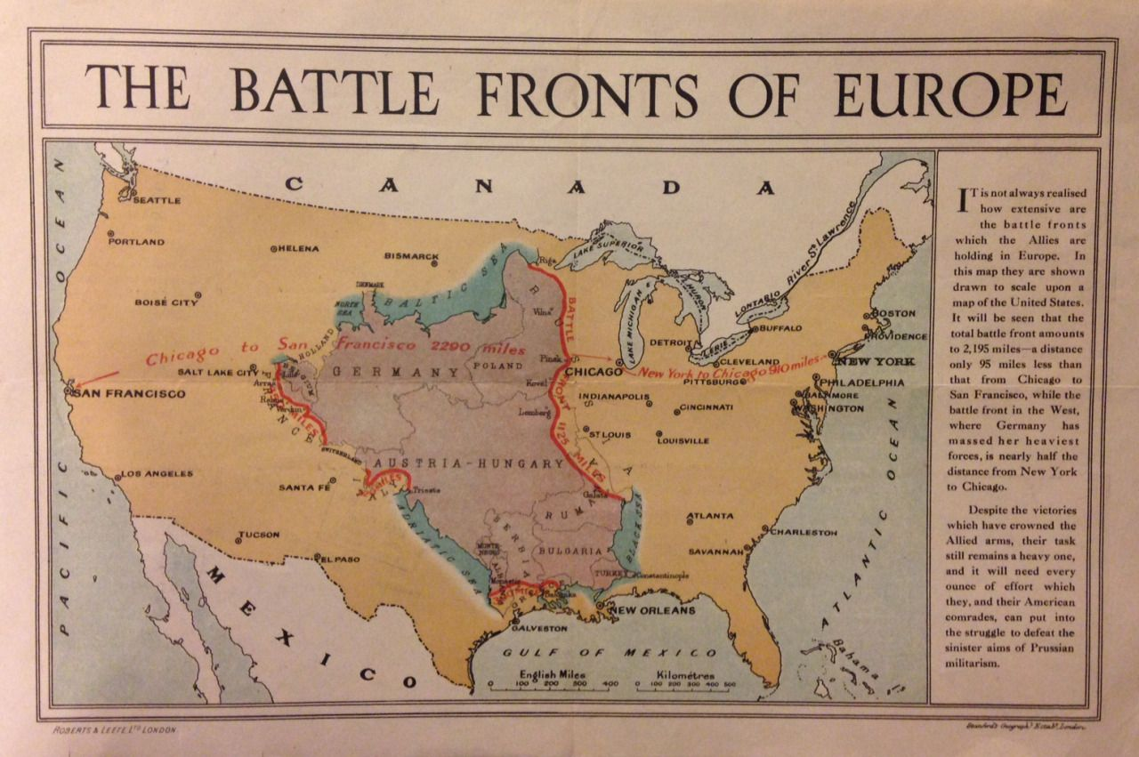 The WW Battle Fronts Of Europe Superimposed On The Continental - Us map with fronts