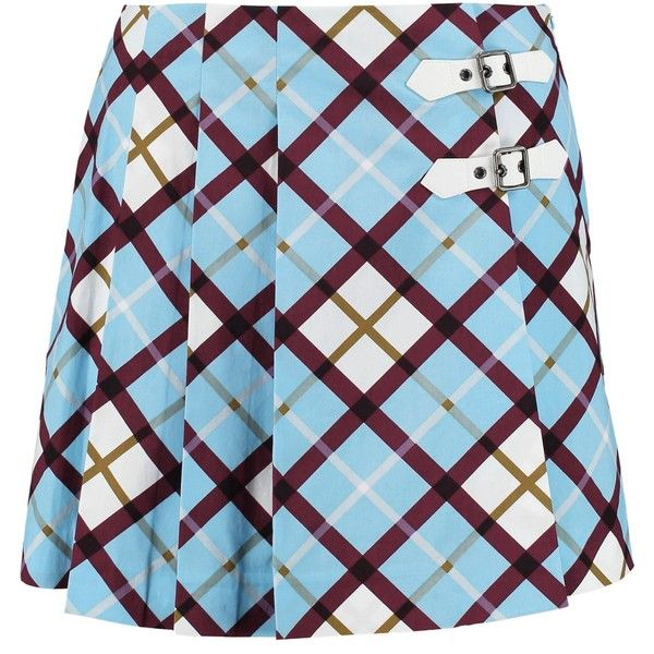 Marc By Marc Jacobs Wrap-effect checked cotton-blend poplin mini skirt  ($84) ❤ liked on Polyvore featuring skirts, mini skirts, multicolor,  pleated skirt, ...