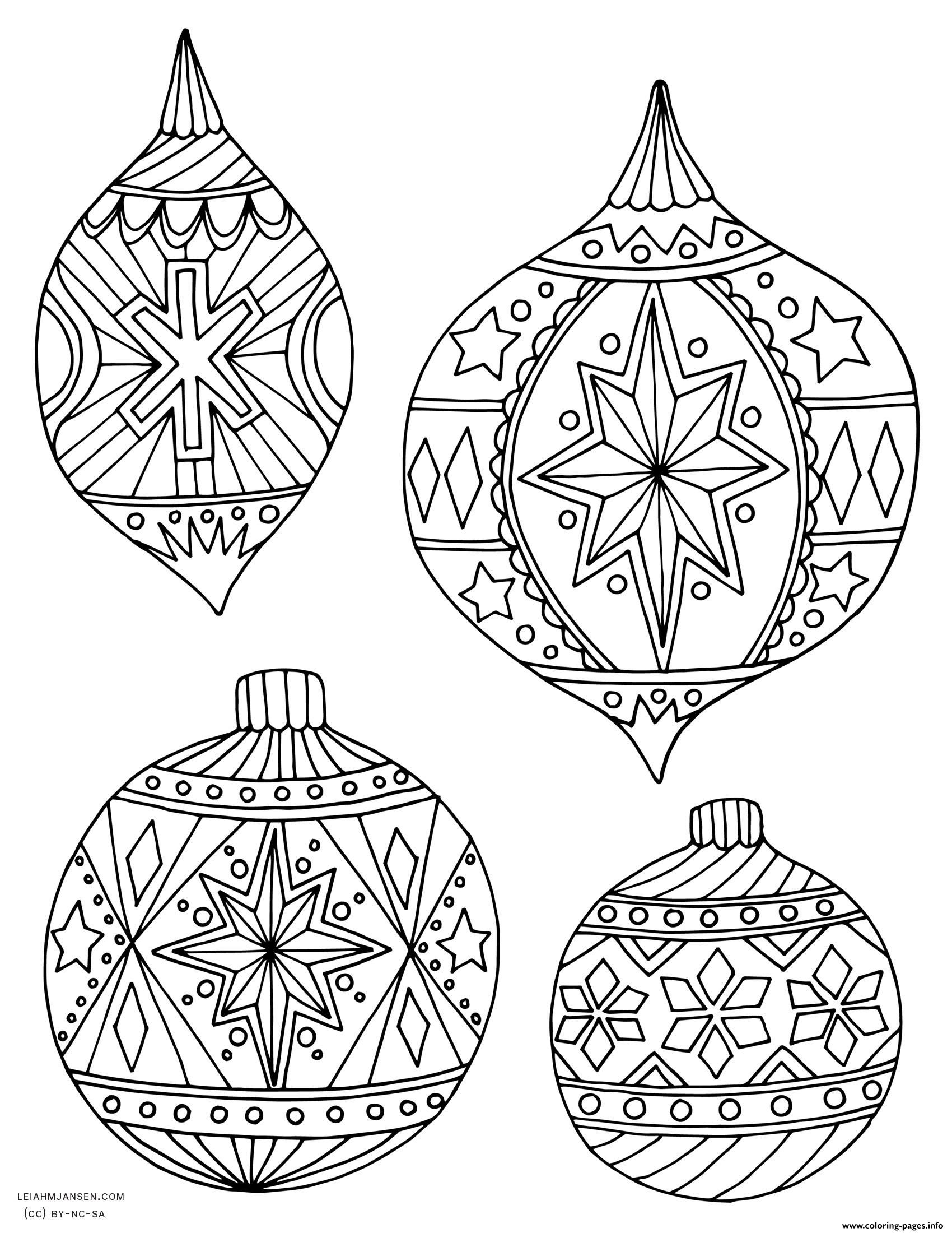 Print Adult Christmas Holiday Ornaments Coloring Pages