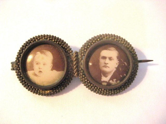 Antique Victorian Double Vintage Mourning Memorial Photo button Brooch Pin by MysteryMisterAntique on Etsy