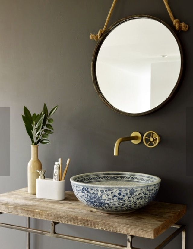 London basin company handcrafted porcelain sink set in vintage wood ...