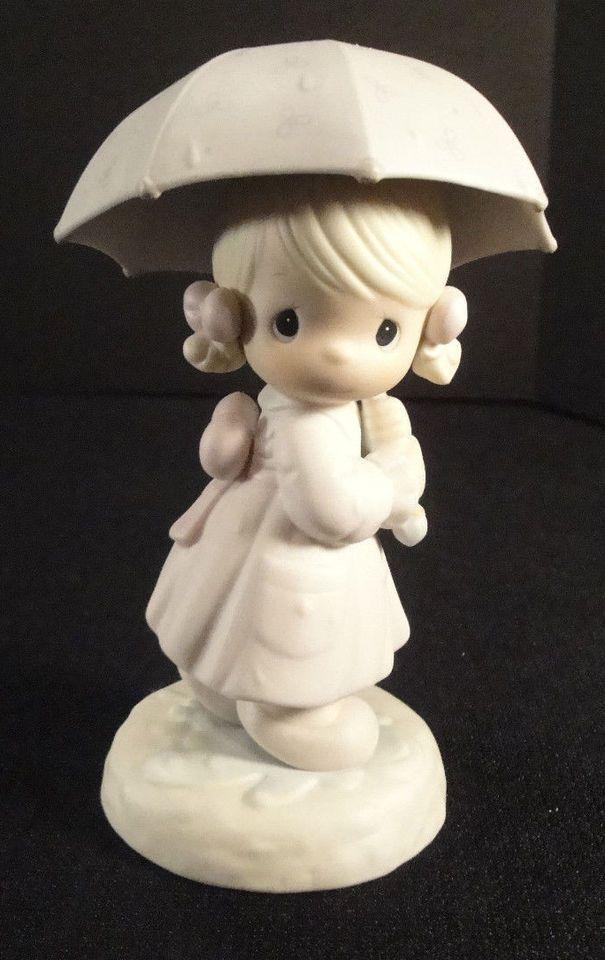 Precious Moments Figurine Calendar Girl April 1987 110027 Enesco Vtg