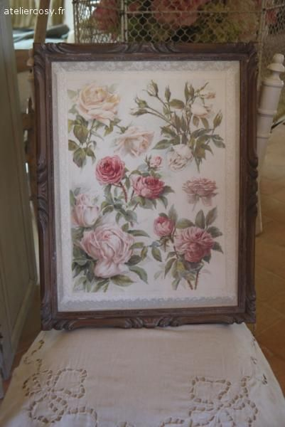ancien chromo d cor fleurs roses brocante de charme atelier brocante de charme. Black Bedroom Furniture Sets. Home Design Ideas