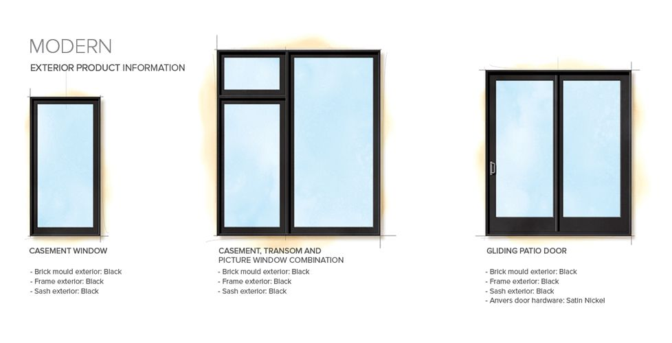 Modern home style exterior window door details for Window styles for homes
